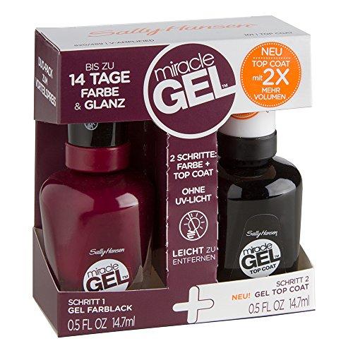 Sally Hansen Doppelpack Miracle Gel Nagellack, Farbe 489 plus Miracle Gel Topcoat, V-Amplified, 1er Pack (2 x 14,7ml)