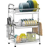 Dish Drying Rack, 304 Stainless Steel Utensil Holder Cutting Board Holder, Rustproof Dish Drainer with Removable Drain…