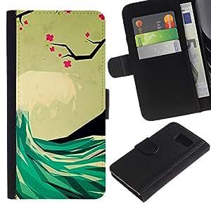 UberTech / Samsung Galaxy S6 SM-G920 / Waves Poly Art Surf Hawaii Sea / Cuero PU Delgado caso Billetera cubierta Shell Armor Funda Case Cover Wallet Credit Card