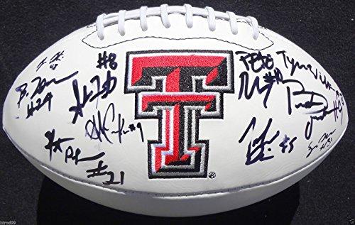 2012-13 TEXAS TECH RED RAIDERS TEAM SIGNED LOGO FOOTBALL ERIC STEPHENS COA J3