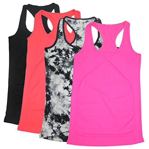 BollyQueena Womens Active Tank Top, Women's Yoga Workout Tank Maternity Tanks Pregnancy Clothes Multicoloured L 4 Packs