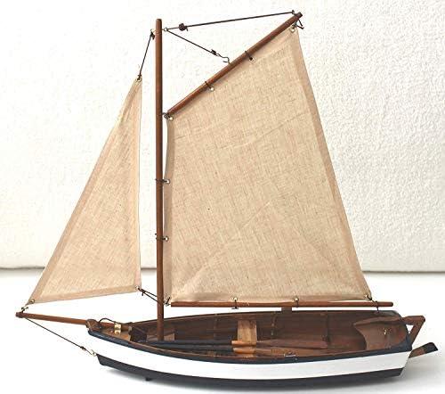 Segelboot Modell 54x32cm Schiff aus Holz mit Segel Ruder Riemen