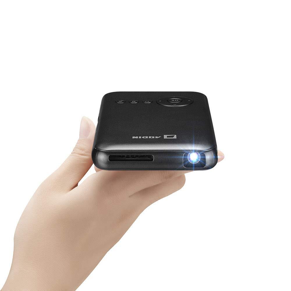 LEDランプ、HDMI&充電式バッテリーポータブル(ブラック)付きAodinミニポケットプロジェクター B06XG63SVZ