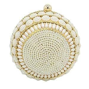 Songlin@yuan Women's Spherical Rhinestone Crystal Artificial Pearl Evening Bag Banquet Wedding Bride Clutch Bag Round Pearl Chain Diagonal Shoulder Bag Wallet Size: 15 * 15 * 15cm (Color : Gold)