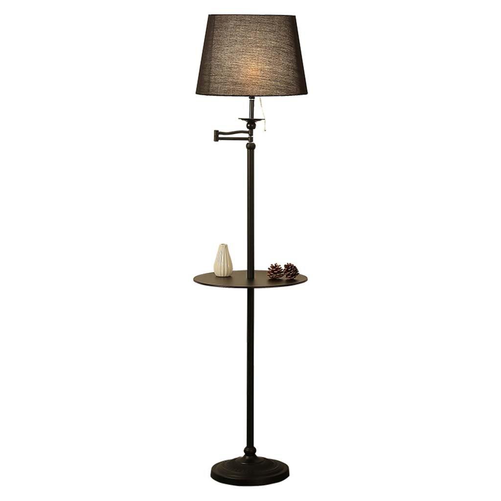 Best wishes shop stehlampe- American Simple Verstellbare Stehlampe mit Regal Schlafzimmer Bedside Study Leselampe Mit Tisch Sofa Stehlampe E27 (Farbe   Schwarz)