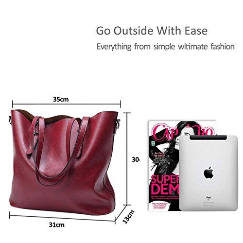 Shoulder Leather amp;Doris Handbag Messenger Nicole PU Casual Bag Women Coffee Crossbody Soft Ladies Red Tote RgTnanqXF