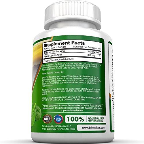 BRI Nutrition Alpha Lipoic Acid Softgels - 60 Count 300mg Fast Absorption Liquid Softgels Discount