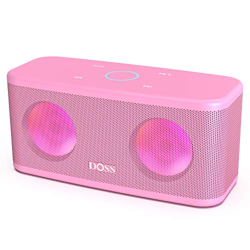 DOSS SoundBox Plus Portable Wireless Bluetooth Speaker with HD Sound and Deep Bass, Wireless Stereo Pairing, Built-in Mic, 20H Playtime, Portable Wireless Speaker for Phone, Tablet, TV, and More.-Pink