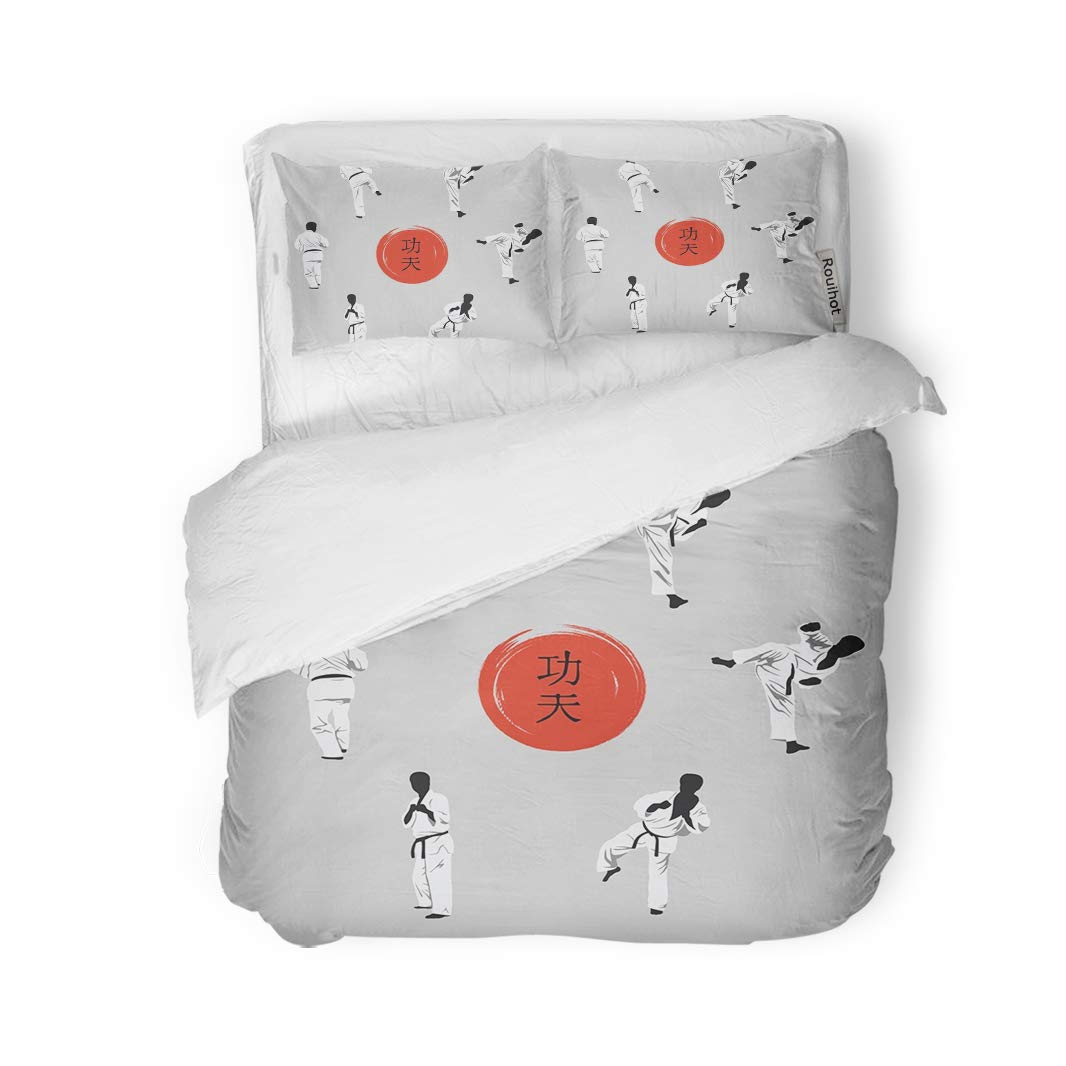 rouihot 3 Piece Duvet Cover Set King Size Group of Men Showing Kung Fu and Hieroglyph Microfiber Fabric Print Home Decor Bedding Set Cover by rouihot