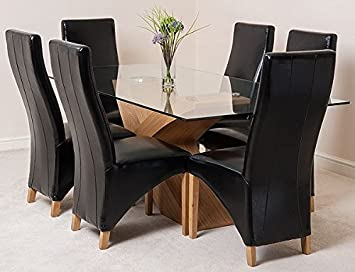 VALENCIA 200 DINING TABLE AND 6 BLACK LOLA LEATHER CHAIRS