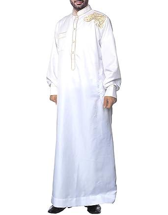 Musulman Islamique Pakistan Dubai Abaya Thobe Moyen-Orient Brodé Vêtements  Hommes cb37124b67b