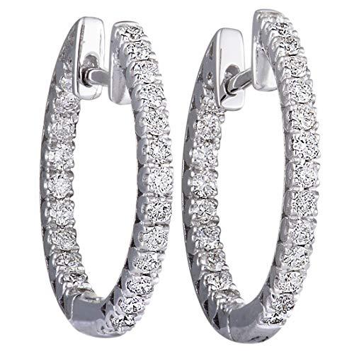 14K White Gold Diamond Huggies Hoop Earrings .66 Carat (0.66 ctw) Diamonds Inside & Out