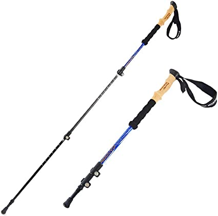 Telescopic Walking Stick Cane Hiking Rubber Tips Aluminium Climbing EquipmeRDFU