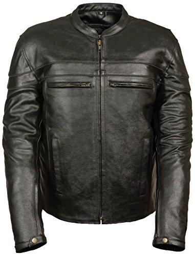 Event Biker Leather Men's Split Leather Vented Scooter Jacket (Black, XXX-Large)