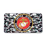 US Marine Corps License Plate with Beautiful Design-11.8' X 6.1' inches-Black Trim