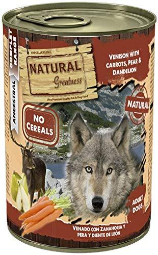 Natural Greatness Comida Húmeda para Perros de Venado con Zanahoria, Pera y Diente de León. Pack de 6 Unidades. 400 gr…