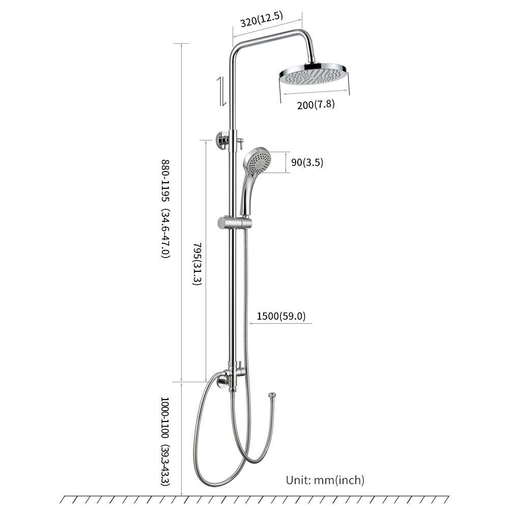 Auralum Columna de ducha redonda-Conjunto Ducha giratoria de 180/° Ducha de mano como lluvia Para Ba/ño