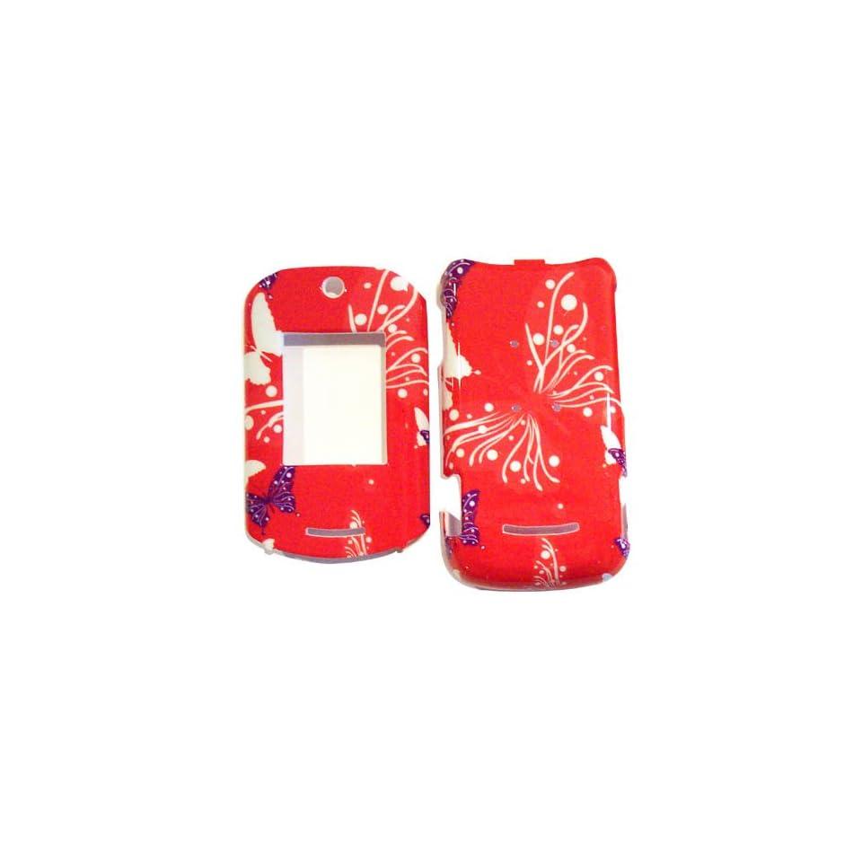 Hard Plastic Snap on Cover Fits Motorola VE20 RAZR Butterfly Dot/Hot Pink