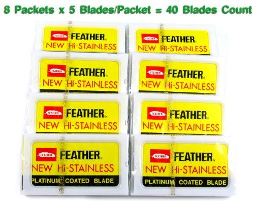 Feather Hi-Stainless Platinum Double Edge Razor Blades :: 40 Ct