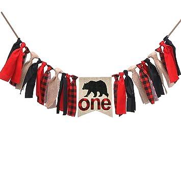 Lumberjack First Birthday Party Supplies DecorationsBuffalo Plaid Camping Wild Bear 1st High