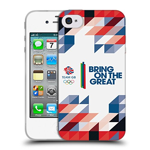 Official Team GB British Olympic Association Geometric Bring On The Great Soft Gel Case for Apple iPhone 4 / 4S