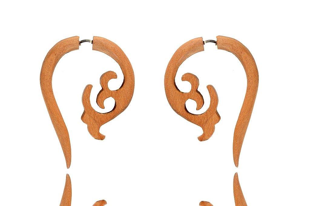 Tibetan Tribal Antique Beige Wooden African Hand Carve Fake Gauge Earring WER375