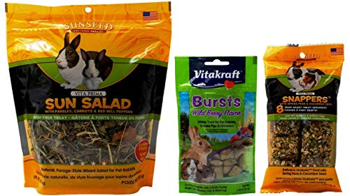 Vitakraft Sunseed Rabbit Treats 3 Flavor Variety Bundle (1) Each: Sun Salad, Wild Berry Bursts, Snappers Peas Cucumbers (1.76-10 Ounces)