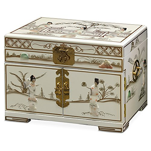 China Furniture Online Jewelry Box with Mother of Pearl Maidens on White Lacquer