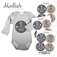 Modish Labels, 12 Monthly Baby Stickers, Baby Month Stickers Boy, Tribal, Arr...