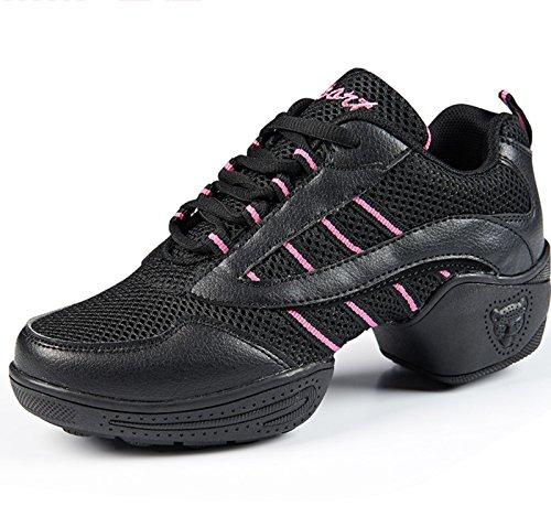VECJUNIA Ladies Lace-Up Mesh Trainer Sneaker Walking Shoes Running Shoes Dance Shoes Black 2 D3TXT4