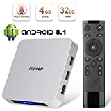 Android 8.1 TV Box, HAOSIHD AI ONE Smart Android TV Box with Voice Remote Control, 4GB RAM 32GB ROM RK3328 Quad-core, Built-in WiFi BT 4.0 4K Full HD