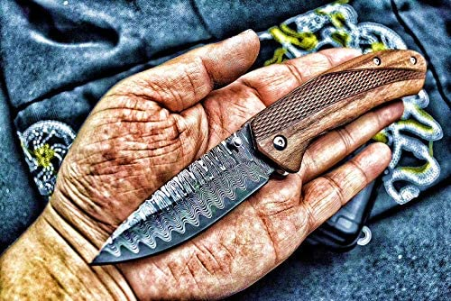 ENNSUN Damascus Pattern Spring Assisted Folding Pocket Knife Rosewood Handle with Carved Pattern, Good for Outdoor Camping Hunting, Elegant Gifts for Men