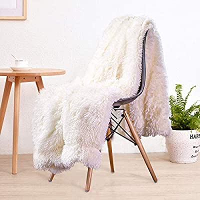 "LOCHAS Super Soft Shaggy Faux Fur Blanket, Plush Fuzzy Bed Throw Decorative Washable Cozy Sherpa Fluffy Blankets for Couch Chair Sofa (Cream White 50"" x 60"") - High Quality: This High Quality Comfy Faux Fur Throw Blanket Does Not Shed, Keeps Couch and Bed Spotless Perfect Gift: Perfect personal gift for any occasion. Add extra texture to your decor and turns your room into an inviting space with this simple yet classy elegant design; drape it over a chair, couch or bed to add an exotic stylish touch to your living room or bed room Premium comfort and luxurious: Exclusive style, double-layer thick fabric, the front is soft velvet, and the reverse is a super warm sherpa fabric, which weighs 554g per square gram. Absolutely real, silky touch, highlighting the quality of your life~! - blankets-throws, bedroom-sheets-comforters, bedroom - 51fMMBH2sbL. SS400  -"