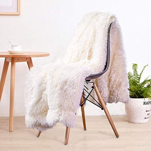 "LOCHAS Super Soft Shagge Faux Fur Blanket Plush Fuzzy Bed Throw Decorative Cozy Fluffy Blankets for Couch Chair Sofa (Cream White 50"" x 60"")"