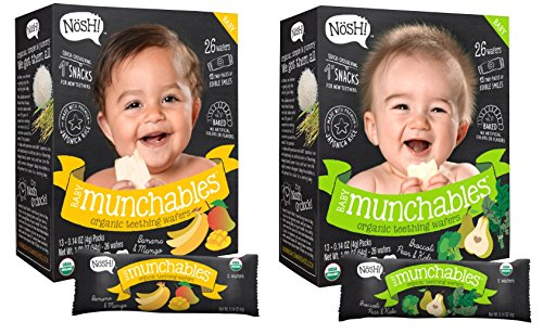 - Nosh Baby Munchables Teethers Organic Rice Teething Wafers, 26 Piece, Sampler Pack (Pack of 2), Banana Mango & Broccoli Pear Kale