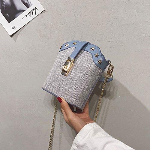 Roscloud@ Mini bolsos de las mujeres de las cadenas de los remaches del hombro del paño grueso y suave bolsas de mensajero ( Color : Azul ) Azul