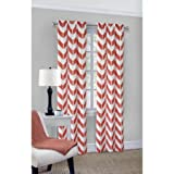 Mainstays Chevron Polyester/Cotton Curtain With BONUS Panel, Coral Color Review