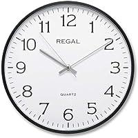 Regal 0250 BW İnce Siyah Çerçeve Beyaz Kadran Slim Sessiz Akar Ev Ofis Tipi Klasik Duvar Saati 30 Cm