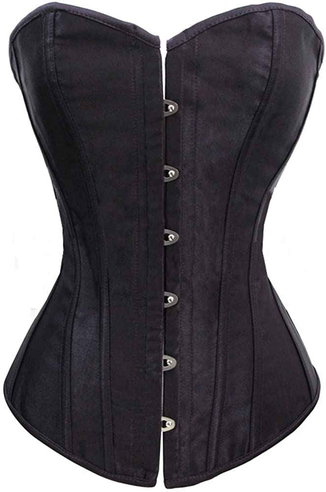 Chicastic Black Satin Sexy Strong Boned Corset Lace Up Overbust Waist Cincher Bustier Bodyshaper Top - Also White & Red