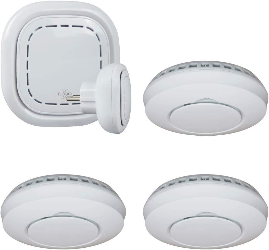 ELRO Connects SF400S Kit Detector de Humo - Juego Completo con Conector K1 + 3X Detector de Humo Inalámbrico - Avisos a través de Smartphone - según EN14604
