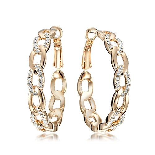 Gemini Women Jewelry 18K Gold Fill Swarovski Big Round Hoop Pierce Earring Gift Sz 4cm Yellow Gold