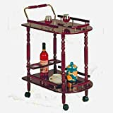 Carriage Serving Cart, Large Tiered Rustic Decorative Copper Elegant Vintage Beverage and Tea Serving Cart, Brass Outdoor Contemporary Cherry Trolley Cart & E-Book