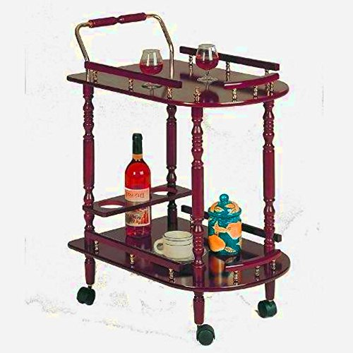 Carriage Serving Cart, Large Tiered Rustic Decorative Copper Elegant Vintage Beverage and Tea Serving Cart, Brass Outdoor Contemporary Cherry Trolley Cart & E-Book by center