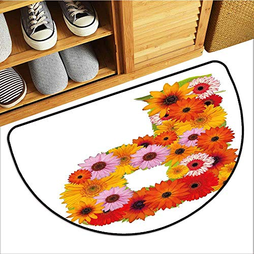 TableCovers&Home Absorbs Mud Doormat, Letter P Decorative Doormats for Bedroom, Flower Arrangement with Gerbera Daisies Colorful Palette Alphabet P Symbol Print (Multicolor, H24 x D36 Semicircle) ()