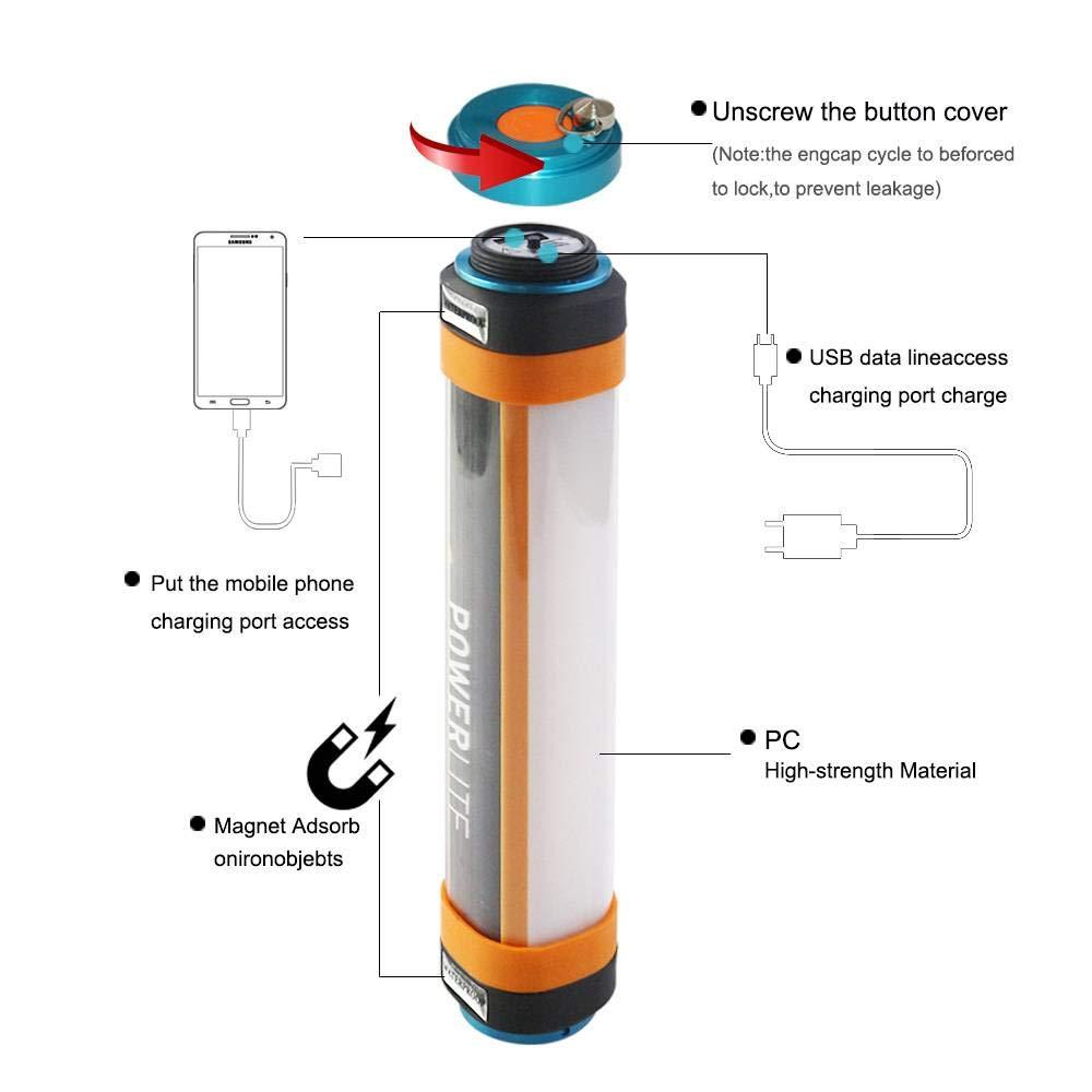 Impermeable Impermeable Impermeable camping linterna USB, fuente de alimentación de emergencia repelente de mosquitos al aire libre, linterna LED, 4 modos con colgante magnético al aire libre acampar luz Senderismo Pesca,25 8519b3