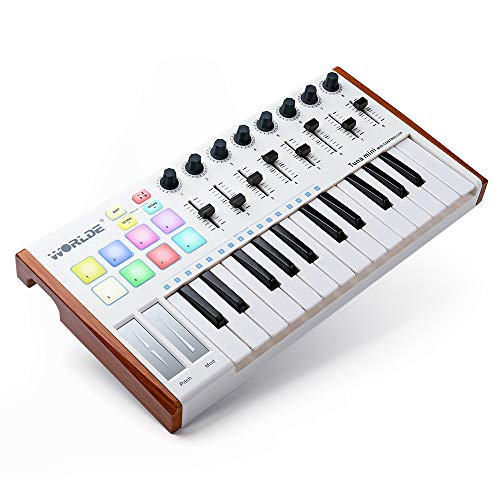 rtable Tuna Mini MIDI Keyboard MIDI Controller (8 Knobs/8 Pads/8 Faders) with Wood Imitation Rim, Pedal Interface, for Mac and PC ()