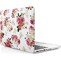 iDOO Matte Rubber Coated Soft Touch Plastic Hard Case for MacBook Pro 15 inch Retina without CD Drive Model A1398 Floral Rose