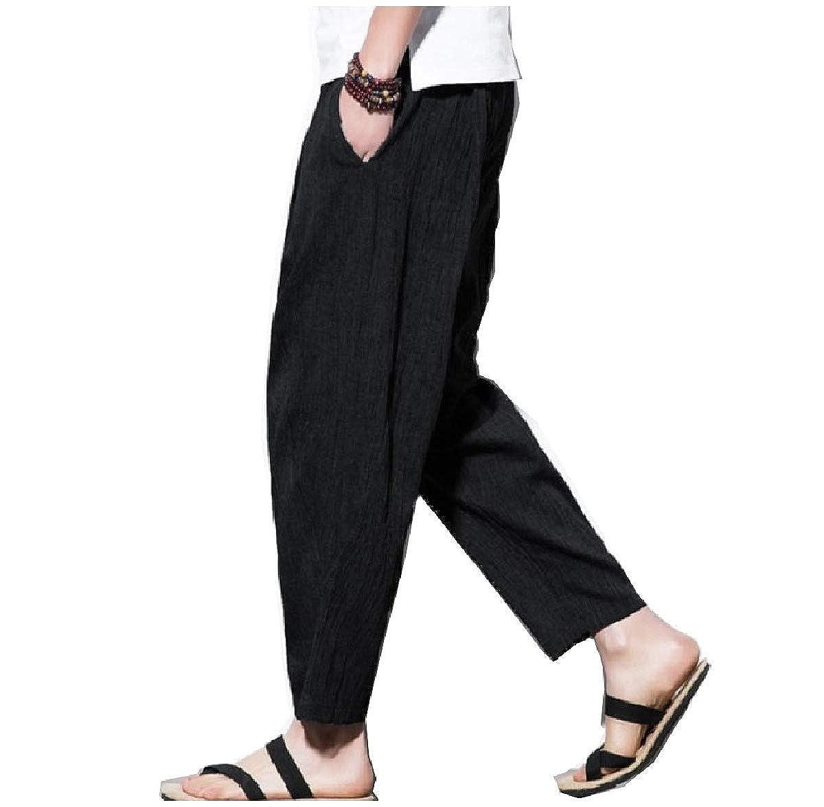 Winwinus Men Pockets Beach Aloha Party Harem Loose Fit Linen Blend Pants