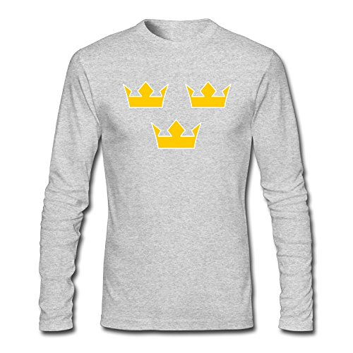 MAT Q VO Men's Team Sweden 2016 World Cup Of Hockey Logo Long Sleeve T Shirts/Tee