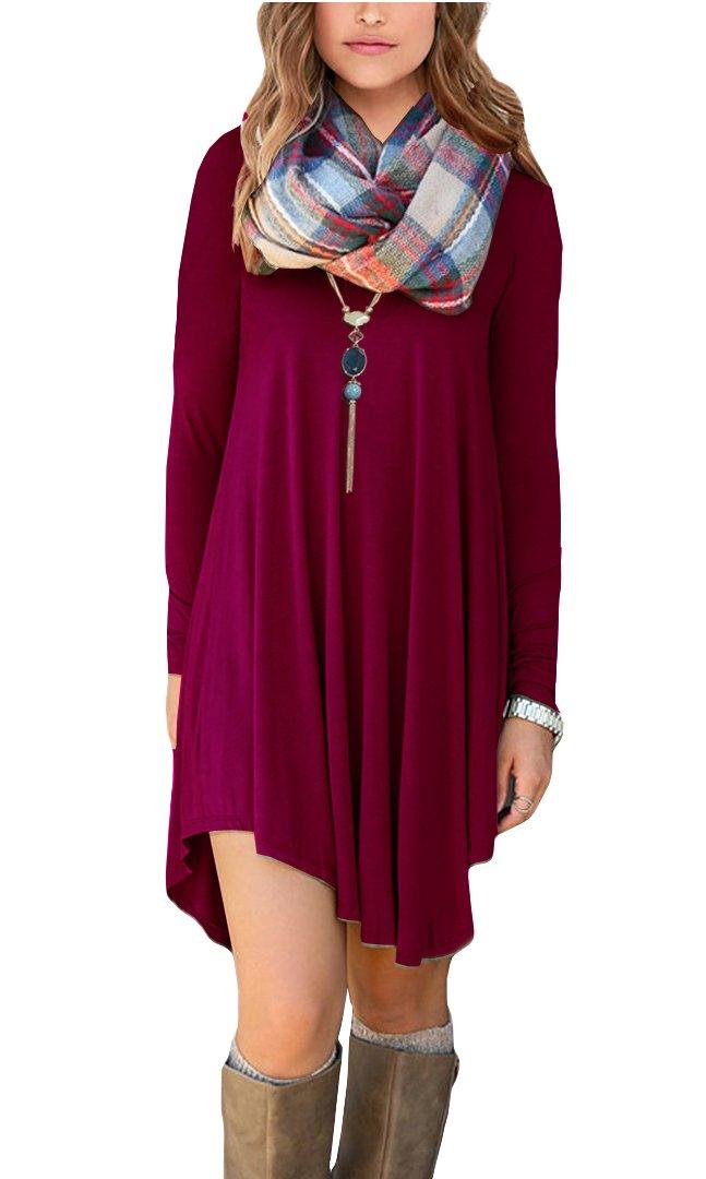 POSESHE Women's Irregular Hem Long Sleeve Casual T-Shirt Flowy Short Dress Wine Red XL